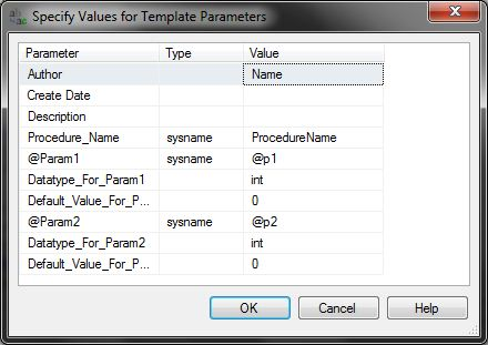 Specify Stored Procedure Parameters