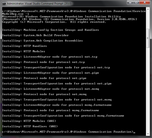 ServiceModelReg.exe -i result