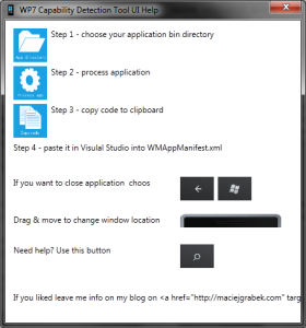 Windows Phone Capability Detection Tool UI Help